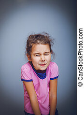 menina adolescente, 5, anos, de, europeu, aparência, tem, dor abdominal, ligado, um