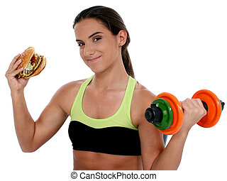 menina adolescente, alimento, desporto