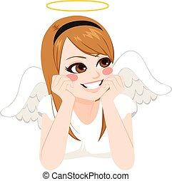 menina adolescente, anjo