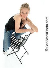 menina adolescente, cadeira