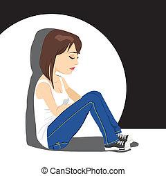 menina, adolescente, chorando, triste