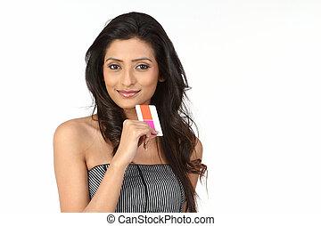 menina adolescente, com, cartão crédito