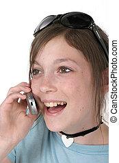 menina adolescente, com, cellphone, 5a