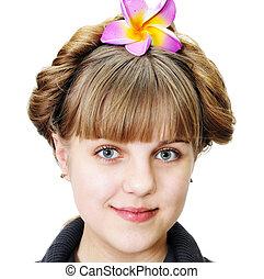 menina adolescente, com, engraçado, penteado