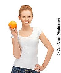 menina adolescente, com, laranja