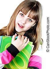 menina adolescente, com, livros