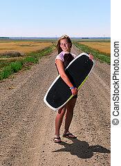 menina adolescente, com, placa vigília