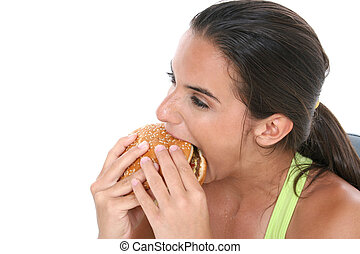 menina adolescente, desporto, alimento