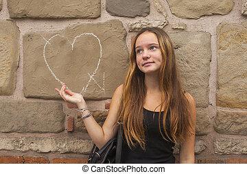menina adolescente, em, frustração, estar encontro à parede,...