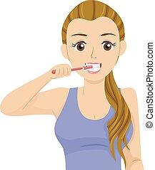 menina adolescente, escova, ilustração, dentes