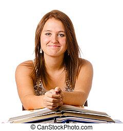 menina adolescente, estudar, isolado, livros, sorrindo, branca, feliz