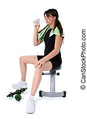 menina adolescente, exercício