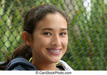 menina adolescente, feliz