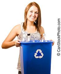 menina adolescente, feliz, isolado, sorrindo, reciclagem, tirando, branca