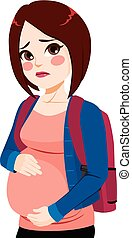 menina, adolescente, grávida