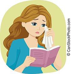 menina adolescente, livro, grito