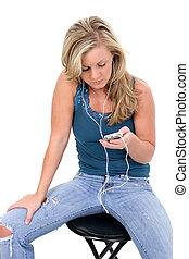 menina adolescente, música