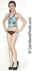 menina adolescente, modelar, um, swimsuit