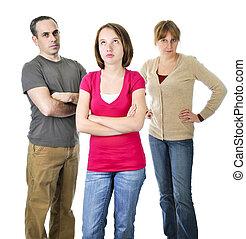 menina adolescente, problema, com, pais