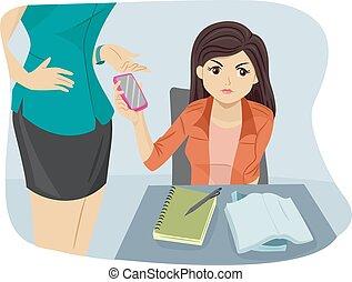 menina adolescente, professor, confiscate, telefone