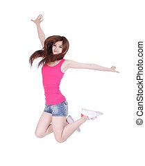 menina adolescente, salto