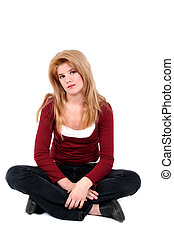 menina adolescente, sentando