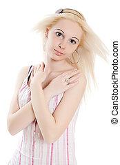 menina adolescente, sobre, branca, bonito