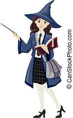 menina adolescente, wizard, estudante