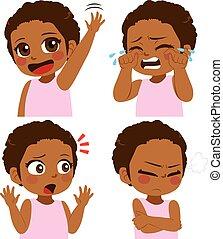 menina, africano, expressão, rosto