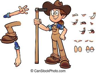 menina, agricultor