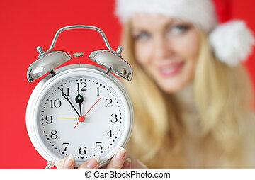 menina, alarme, segurando, relógio