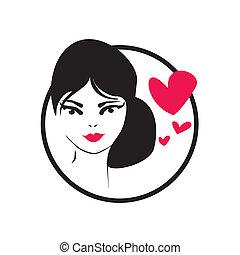 menina, amor, ilustração, vetorial