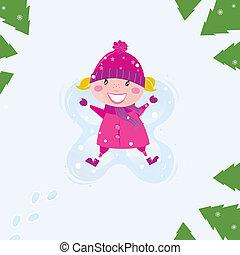 menina, angel neve, feliz