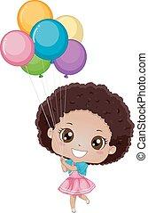 menina, aniversário, balões, criança