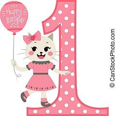 menina, aniversário, gato, feliz