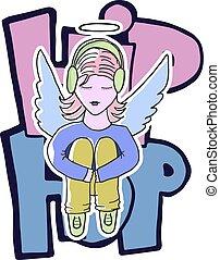 menina, anjo, senta-se, com, fones, ligado, a, fundo, de, a, phrase:, hip-hop., personagem, estilo, apartment., a, conceito, de, rua, style., isolado, vetorial, image.