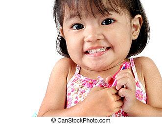 menina, ano velho, asiático, três