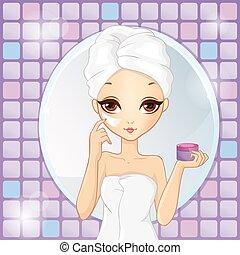 menina, aplicando, moisturizer