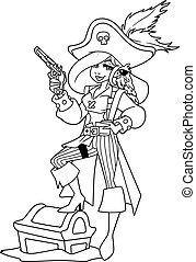 menina, arte, linha, ilustração, pirata