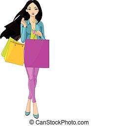menina asiática, com, bolsas para compras