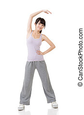 menina, asiático, condicão física