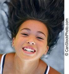 menina, asiático, feliz