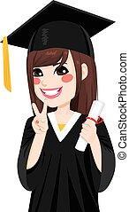 menina, asiático, graduação