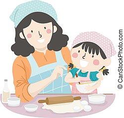 menina, assar, ensinar, mãe, como, criança, ilustração
