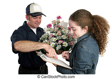 menina, assinando, para, flores