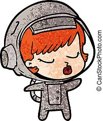 menina, astronauta, caricatura, bonito
