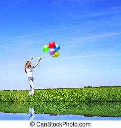 menina, balões