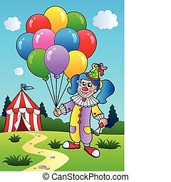 menina, balões, palhaço, barraca