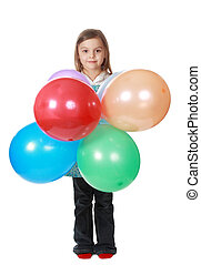 menina, balões, segurando, grupo