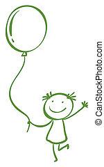 menina, balloon, segurando